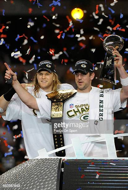 Aaron Rogers and Clay Matthews of the Green Bay Packers celebrates with the Vince Lombardi Trophy after defeating the Pittsburgh Steelers in Super...