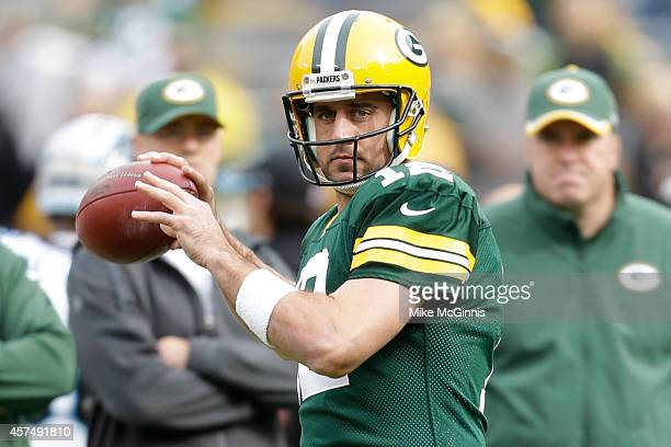 Aaron Rogers of the Green Bay Packers during pre game against the Carolina Panthers at Lambeau Field on October 19 2013 in Green Bay Wisconsin