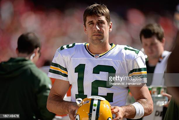 Aaron Rogers of the Green Bay Packers looks on from the sidelines during the third quarter against the San Francisco 49ers at Candlestick Park on...