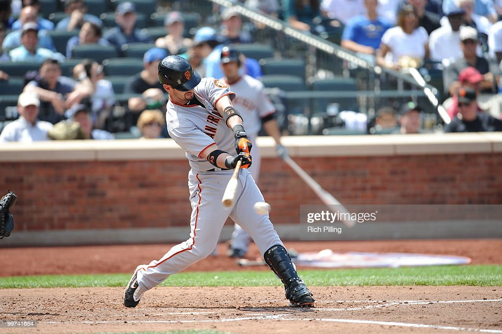 Aaron Rowand of the San Francisco Giants bats during the extra inning game against the New York Mets at Citi Field in Flushing, New York on May 8, 2010. The Mets defeated the Gaints 5-4 in 11 innings.