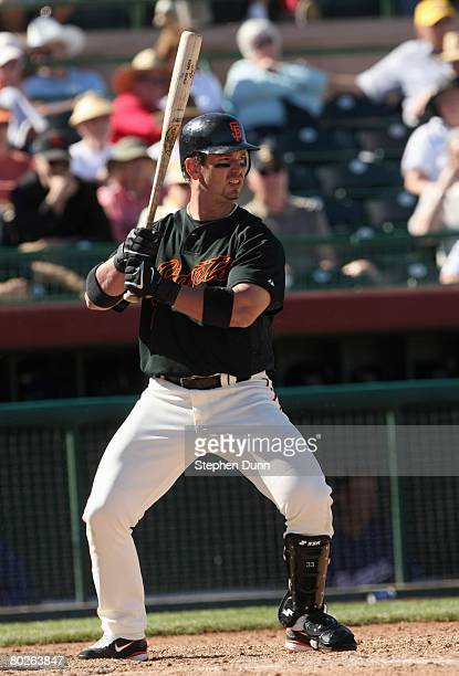 Aaron Rowand of the San Francisco Giants stands ready at bat during the game with the Texas Rangers on March 3 2008 at Scottsdale Stadium in...