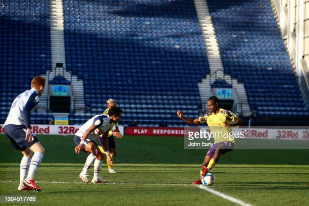 Aaron Rowe of Huddersfield Town during the Sky Bet Championship match between Preston North End and Huddersfield Town at Deepdale on February 27,...