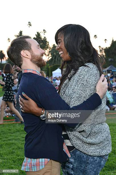 Aaron Ruell and Shondrella Avery attend the Sundance NEXT FEST screening of 'Napoleon Dynamite' at Hollywood Forever on August 7 2014 in Hollywood...