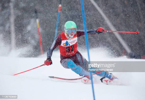 Aaron Rusiecki of Freeport competes in the Class A skiing slalom championships at Shawnee Peak