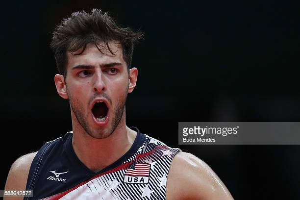 Aaron Russell of the United States reactsl during the men's qualifying volleyball match between Brazil and United States on Day 6 of the Rio 2016...