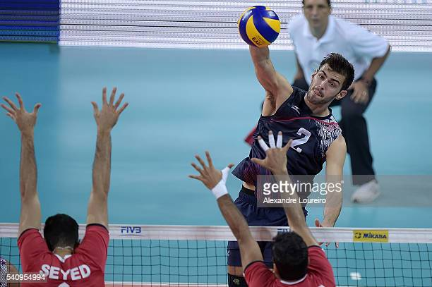 Aaron Russell of the US spikes de ball during the match between USA and Iran on the FIVB World League 2016 Day 2 at Carioca Arena 1 on June 17 2016...