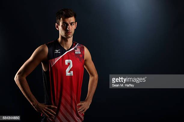 Aaron Russell of the USA men's indoor volleyball team poses for a portrait at the American Sports Center on May 24 2016 in Anaheim California