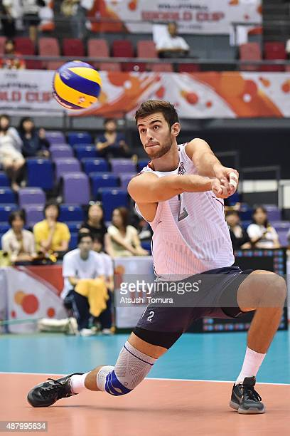 Aaron Russell of the USA receives in the match between Egypt and USA during the FIVB Men's Volleyball World Cup Japan 2015 at the Hiroshima Green...