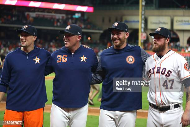 Aaron Sanchez of the Houston Astros Will Harris Joe Biagini and Chris Devenski combined for a no hitter against the Seattle Mariners at Minute Maid...