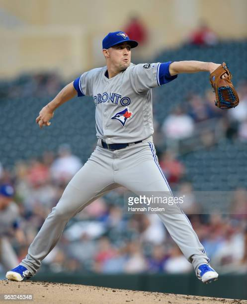 Aaron Sanchez of the Toronto Blue Jays delivers a pitch against the Minnesota Twins during the first inning of the game on April 30 2018 at Target...