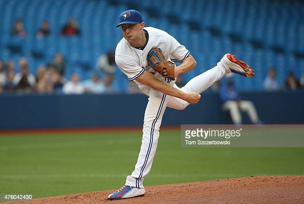 Aaron Sanchez of the Toronto Blue Jays delivers a pitch in the first inning during MLB game action against the Houston Astros on June 5 2015 at...