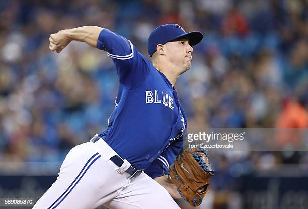 Aaron Sanchez of the Toronto Blue Jays delivers a pitch in the first inning during MLB game action against the Houston Astros on August 13 2016 at...