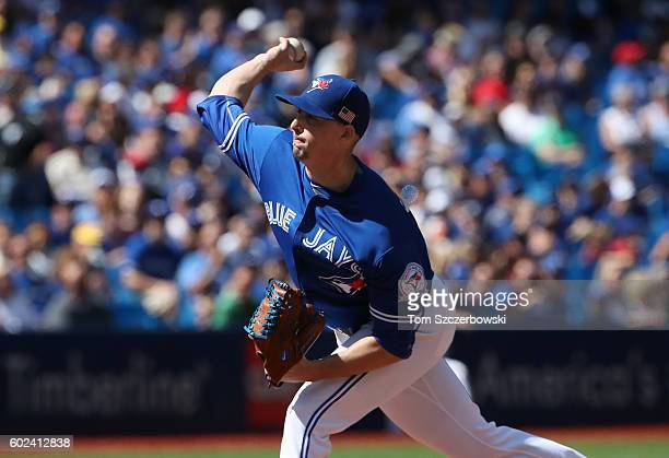 Aaron Sanchez of the Toronto Blue Jays delivers a pitch in the first inning during MLB game action against the Boston Red Sox on September 11 2016 at...