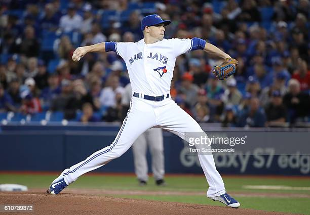 Aaron Sanchez of the Toronto Blue Jays delivers a pitch in the first inning during MLB game action against the Baltimore Orioles on September 27 2016...
