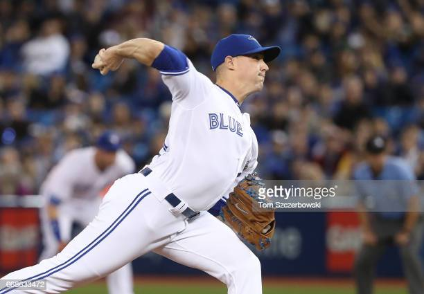 Aaron Sanchez of the Toronto Blue Jays delivers a pitch in the first inning during MLB game action against the Baltimore Orioles at Rogers Centre on...