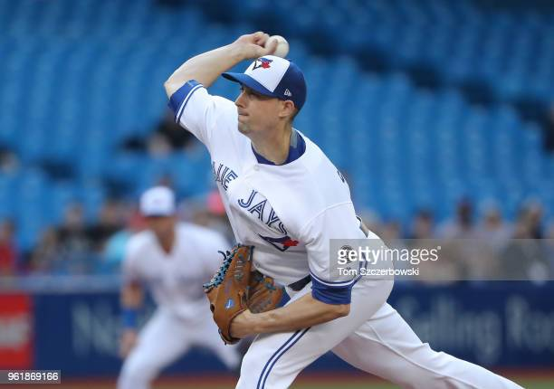 Aaron Sanchez of the Toronto Blue Jays delivers a pitch in the first inning during MLB game action against the Los Angeles Angels of Anaheim at...