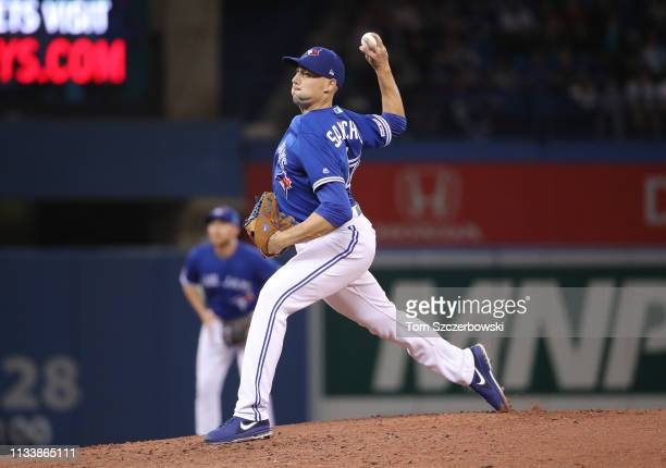 Aaron Sanchez of the Toronto Blue Jays delivers a pitch in the fourth inning during MLB game action against the Detroit Tigers at Rogers Centre on...