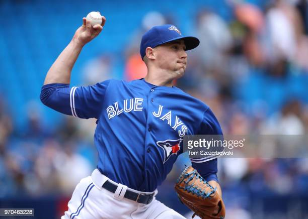 Aaron Sanchez of the Toronto Blue Jays delivers a pitch in the second inning during MLB game action against the Baltimore Orioles at Rogers Centre on...