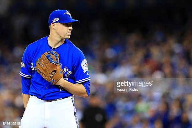 Aaron Sanchez of the Toronto Blue Jays looks on prior to pitching against the Texas Rangers in the first inning during game three of the American...