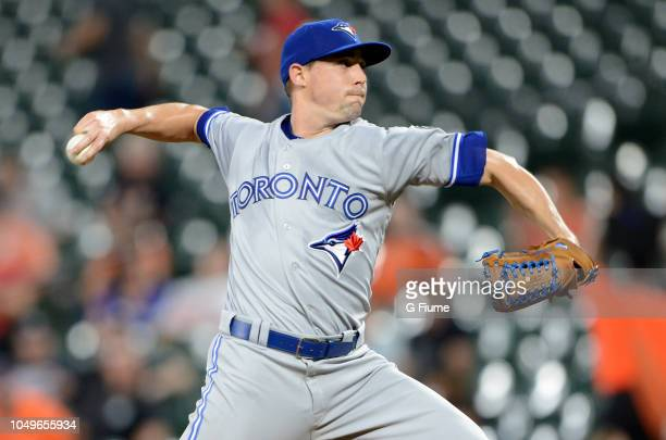 Aaron Sanchez of the Toronto Blue Jays pitches against the Baltimore Orioles at Oriole Park at Camden Yards on September 18 2018 in Baltimore Maryland