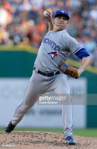 Aaron Sanchez of the Toronto Blue Jays pitches against the Detroit Tigers during the second inning at Comerica Park on July 14 2017 in Detroit...