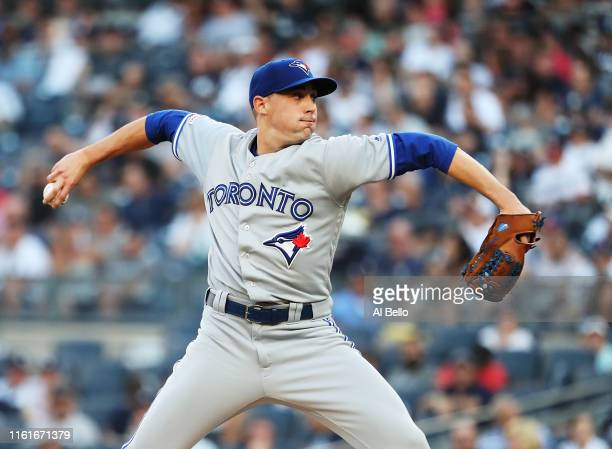 Aaron Sanchez of the Toronto Blue Jays pitches against the New York Yankees during their game at Yankee Stadium on July 12 2019 in New York City