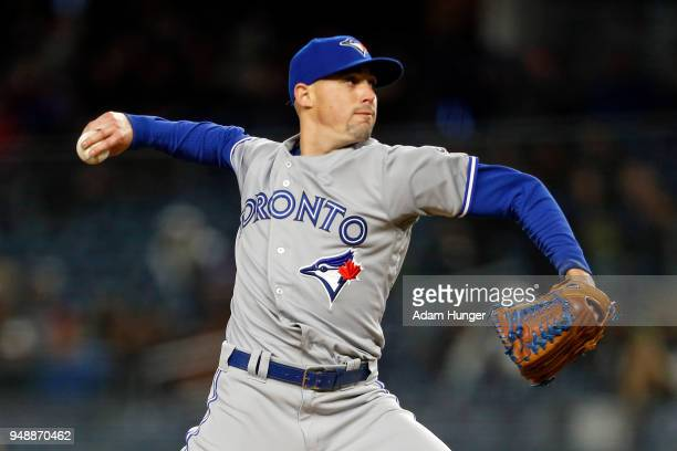 Aaron Sanchez of the Toronto Blue Jays pitches against the New York Yankees during the fourth inning at Yankee Stadium on April 19 2018 in the Bronx...