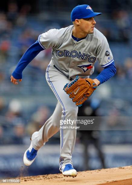 Aaron Sanchez of the Toronto Blue Jays pitches against the New York Yankees during the first inning at Yankee Stadium on April 19 2018 in the Bronx...