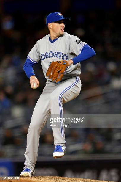 Aaron Sanchez of the Toronto Blue Jays pitches against the New York Yankees during the fifth inning at Yankee Stadium on April 19 2018 in the Bronx...