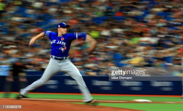 Aaron Sanchez of the Toronto Blue Jays pitches during a game against the Tampa Bay Rays at Tropicana Field on May 27 2019 in St Petersburg Florida