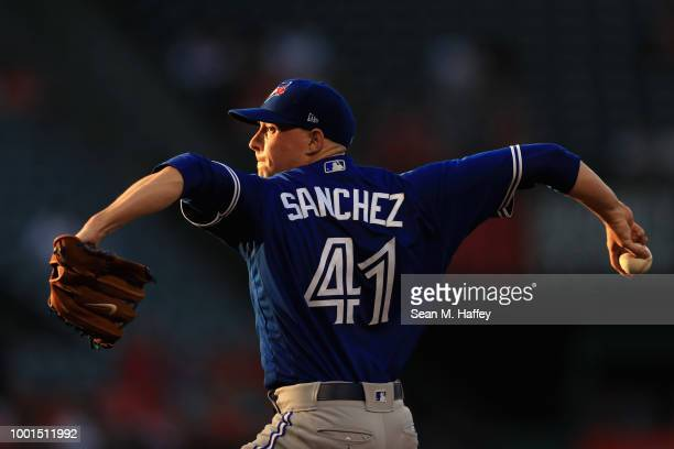 Aaron Sanchez of the Toronto Blue Jays pitches during the first inning of a game against the Los Angeles Angels of Anaheim at Angel Stadium on June...