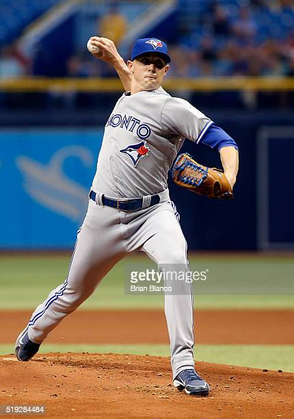 Aaron Sanchez of the Toronto Blue Jays pitches during the first inning of a game against the Tampa Bay Rays on April 5 2016 at Tropicana Field in St...