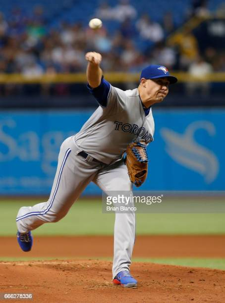 Aaron Sanchez of the Toronto Blue Jays pitches during the first inning of a game against the Tampa Bay Rays on April 8 2017 at Tropicana Field in St...