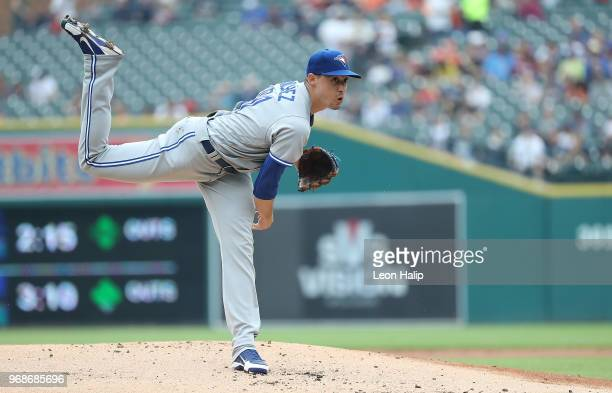 Aaron Sanchez of the Toronto Blue Jays pitches during the first inning of the game against the Detroit Tigers at Comerica Park on June 3 2018 in...