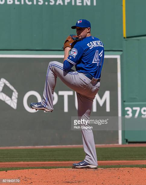 Aaron Sanchez of the Toronto Blue Jays pitches during the first inning against the Boston Red Sox at Fenway Park on April 17 2016 in Boston...