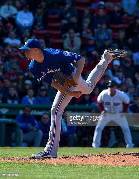 Aaron Sanchez of the Toronto Blue Jays pitches during the seventh inning against the Boston Red Sox at Fenway Park on April 17 2016 in Boston...