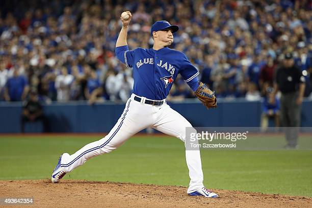 Aaron Sanchez of the Toronto Blue Jays pitches in relief against the Kansas City Royals in the seventh inning during game five of the American League...