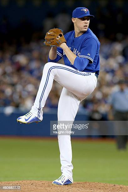 Aaron Sanchez of the Toronto Blue Jays pitches in the seventh inning while taking on the Texas Rangers in game five of the American League Division...