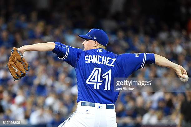 Aaron Sanchez of the Toronto Blue Jays pitches pitches in the first inning during Game 4 of ALCS against the Cleveland Indians at the Rogers Centre...