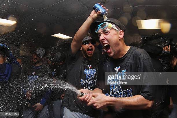 Aaron Sanchez of the Toronto Blue Jays righ celebrates the Toronto Blue Jays' 21 win over the Boston Red Sox clinching a Wildcard spot in the...