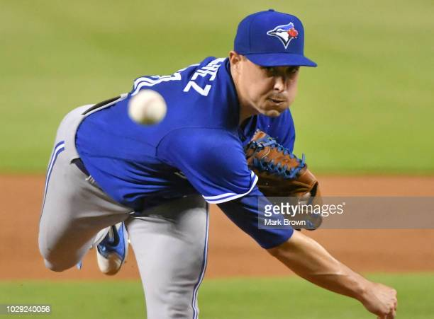 Aaron Sanchez of the Toronto Blue Jays throws a pitch in the first inning against the Miami Marlins at Marlins Park on August 31 2018 in Miami Florida