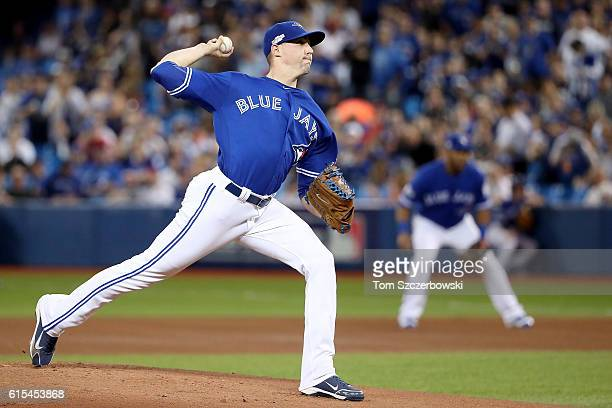 Aaron Sanchez of the Toronto Blue Jays throws a pitch in the first inning against the Cleveland Indians during game four of the American League...
