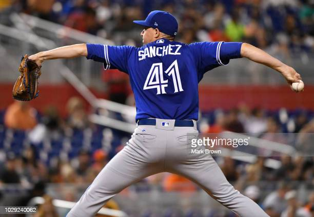 Aaron Sanchez of the Toronto Blue Jays throws a pitch in the second inning against the Miami Marlins at Marlins Park on August 31 2018 in Miami...