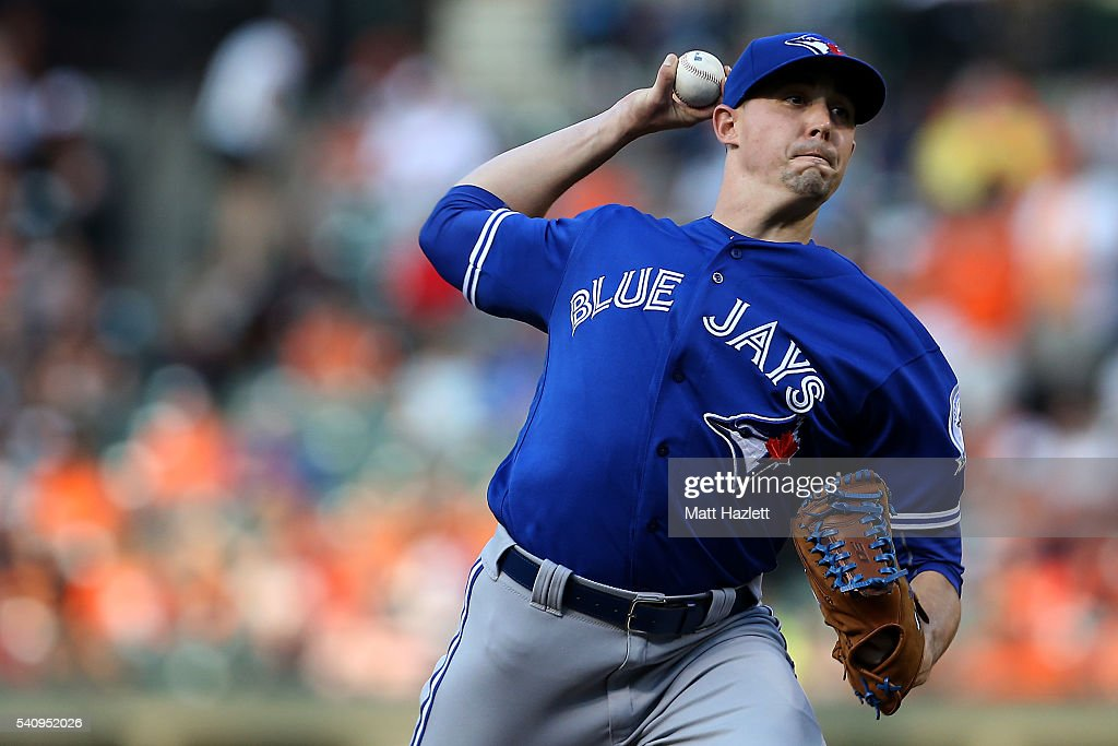 Aaron Sanchez #41 of the Toronto Blue Jays works in the first inning against the Baltimore Orioles at Oriole Park at Camden Yards on June 17, 2016 in Baltimore, Maryland.