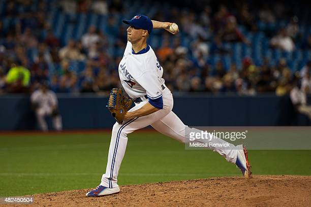 TORONTO ON JULY 30 Aaron Sanchez pitches during a Blue Jays play against the Kansas City Royals at the Rogers Centre July 30 2015