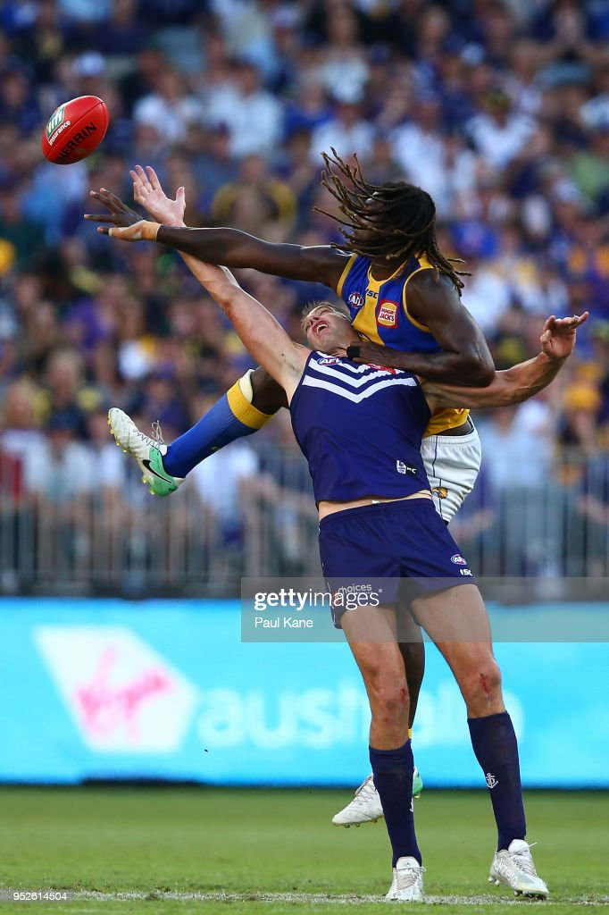 Aaron Sandilands of the Dockers and Nic Naitanui of the Eagles contest the ruck during the Round 6 AFL match between the Fremantle Dockers and West Coast Eagles at Optus Stadium on April 29, 2018 in Perth, Australia.