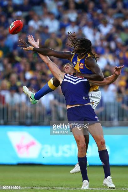 Aaron Sandilands of the Dockers and Nic Naitanui of the Eagles contest the ruck during the Round 6 AFL match between the Fremantle Dockers and West...