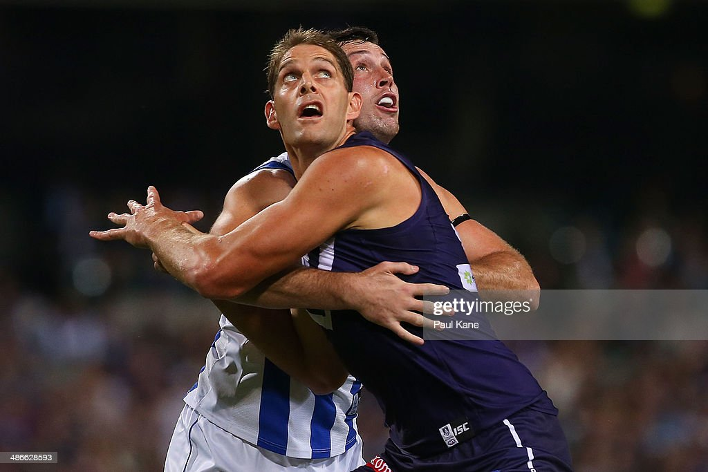 Aaron Sandilands of the Dockers and Todd Goldstein of the Kangaroos contest the ruck during the round six AFL match between the Fremantle Dockers and the North Melbourne Kangaroos at Patersons Stadium on April 25, 2014 in Perth, Australia.