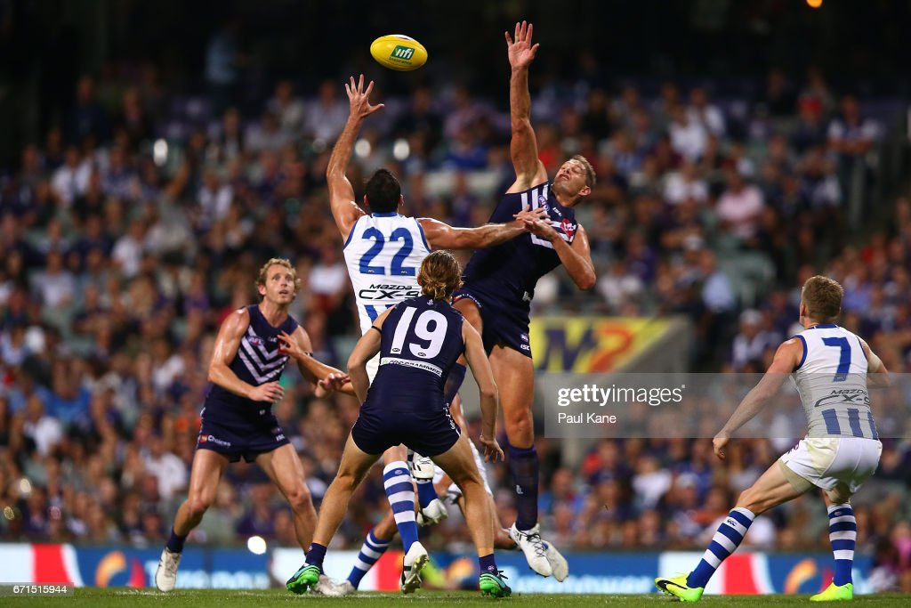 Aaron Sandilands of the Dockers and Todd Goldstein of the Kangaroos contest the ruck during the round five AFL match between the Fremantle Dockers and the North Melbourne Kangaroos at Domain Stadium on April 22, 2017 in Perth, Australia.