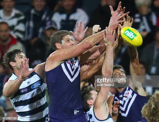 Aaron Sandilands of the Dockers competes for the ball during the round 20 AFL match between the Geelong Cats and the Fremantle Dockers at Skilled...